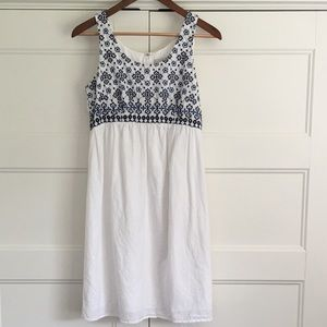 Loft White Dress with Blue Embroidery  Size 6